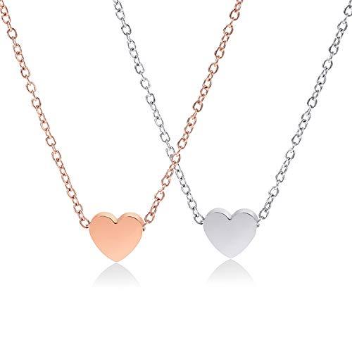 Crazy-M 2 STK Herzkette Halskette mit Herz Anhänger für Damen Liebe Herz Prinzessin Damen Schöne Kette mit dezentem Damen Kette mit Herz Anhänger in Silver and Rosegold 18K Vergoldet Kette