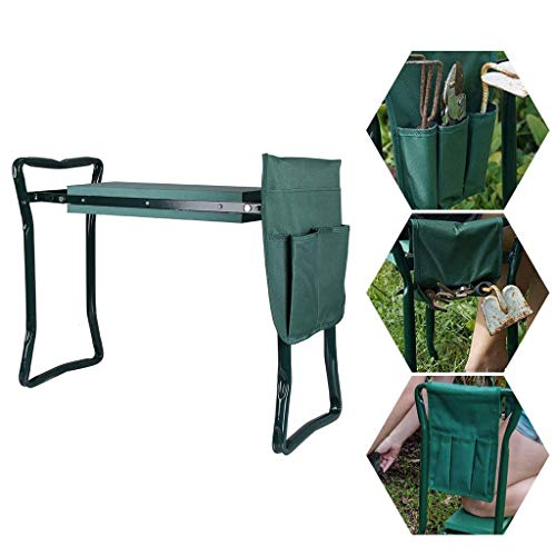 FLYTYSD Foldable Garden Kneeler Seat Pad & Cushion, Yard Work Bench Gardening Gardener Kneeling Stool Chair with Tool Pouches, Helps To Stop Back And Leg Pain,60X27x13.5Cm