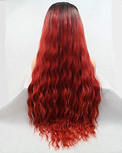 Perruque Drag Queen Wig Loves Waves Longue Synthétique Cheveux-Synthétique Lace-Front pour Dames Festival Cosplay Maquillage Partie Voyage Medium Brown Roots Ombre Mermaid Rouge