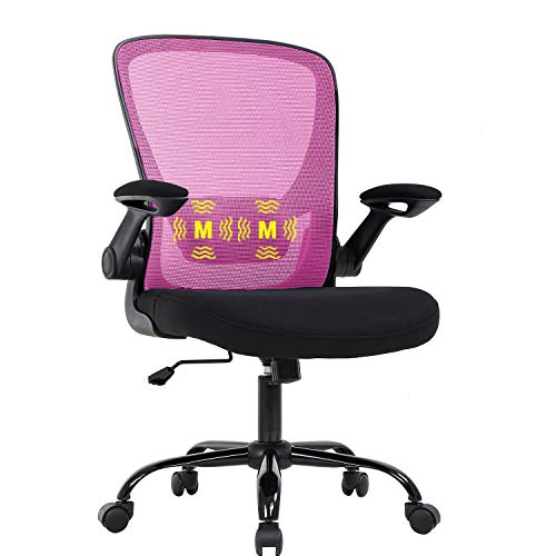 Mesh Office Chair Ergonomic Desk Chair Massage Computer Chair with Lumbar Support Arms Adjustable Swivel RollingTask Chair for Girls(Pink)