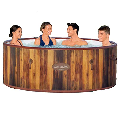 Bestway 60026E SaluSpa Helsinki 7 Person Portable Inflatable Round Hot Tub Spa with 81 Air Jets, Cover, Pump, and Integrated Filter, Wood Print