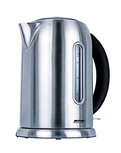 MPM MCZ-49 Hervidor de Agua Electrico Inalambrico de Acero Inoxidable, 1,7 Litros, 2200W, Libre de BPA, Plateado
