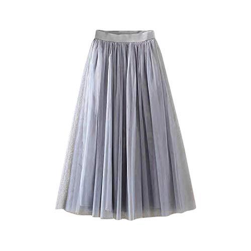 LUOSI Jupe longue plissée en tulle et maille élastique - Taille haute - Décontractée - Coupe trapèze - Pour l'hiver - Style rétro - Taille : S - Couleur : gris