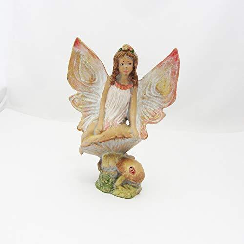 abedulart Figura de Hada sobre una Seta (marmolina), 20 x 15 cm