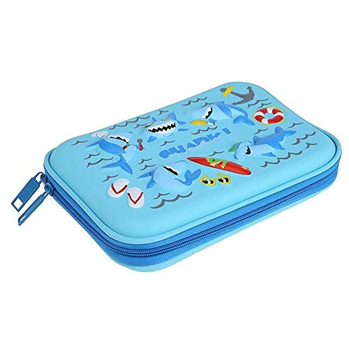 Durable Poche à crayons Shark for enfants (Color : Bleu)