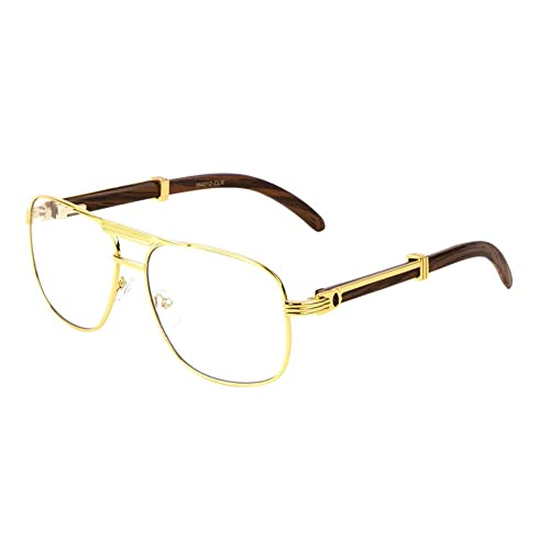 17a8deeebc Executive Metal   Wood Aviator Eyeglasses Clear Lens Sunglasses - Frames