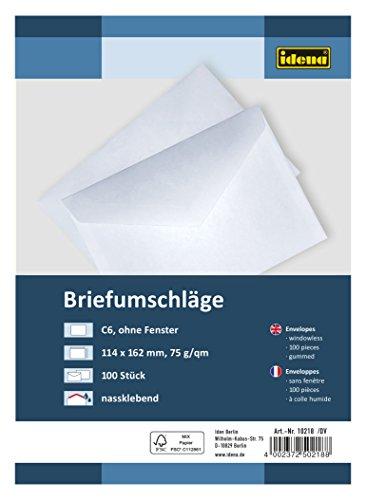 Idena 10218 - Briefumschläge DIN C6, 75 g/m², nassklebend, ohne Fenster, FSC-Mix, weiß, 100 Stück