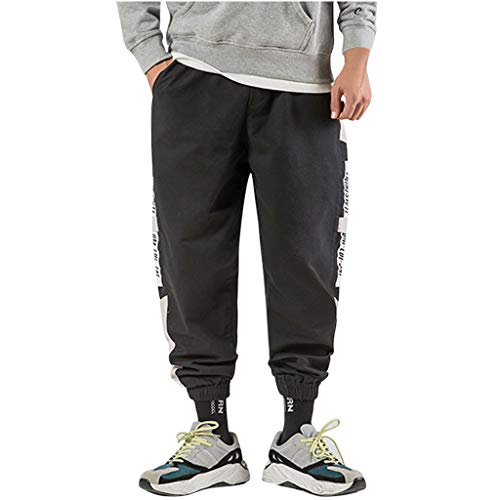 Herren Hosen Sommer Hose Trainingshose Cargo Pants Jogginghose Sweatpants Jogger Freizeit Laufen Streifen Enger Beinabschluss Pants Sports Fitnesshose, Bodybuilding Yoga Sporthose (🐺Schwarz, L)