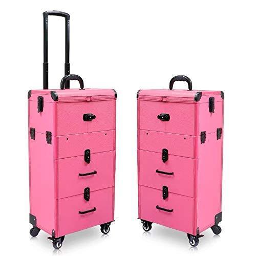 Trousse De Voyage Femmes grande capacité Chariot cosmétique Case Sac à roulettes Bagages, Nails Boîte à outils de maquillage, multi-couche Beauté Tattoo Trolley Valise (Color : Pink)