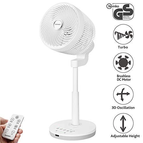 berssen Ventilator leise Standventilator Tischventilator DC Motor mit Fernbedienung höhenverstellbar Turbo für Luftzirkulation Tastbildschirm/8 Windstärken/4 Blätter/ 30W