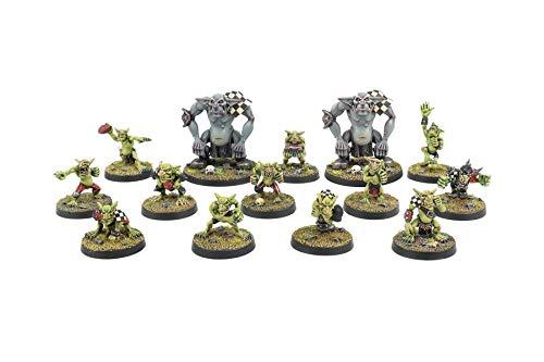 War World Gaming Gutrot Greenskins - Ganzes Team - 28mm Fantasie Fußball Miniatur Figur Mini Kobold für Blood Bowl, Lackierbares Sammlerstück Bemalen Gelände Modellbau