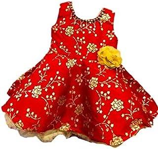 Om Bombay Emporium Girl's Fancy Cotton Dress, Red Colour