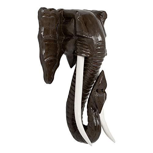 LEBENSwohnART Deko Elefantenkopf TUSK-M Antik-Dunkelbraun ca. H50cm Tierschädel Kopf Wanddeko