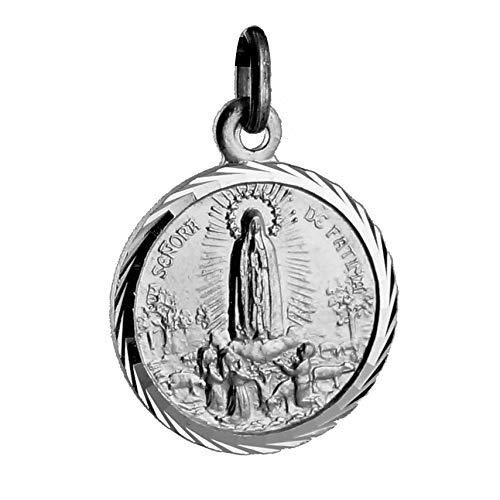 SACRE COEUR - Medalla de la Virgen de Fátima | Plata Primera Ley | Advocación en Cova da Iria (Portugal) | Acabado con Bisel Estriado