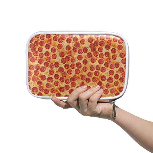 Linomo Multifunctional Pencil Bag Vintage Sausage Pizza Pencil Case Zipper Leather Passport Bag Pouch Holder Small Cosmetic Brush Makeup Bag for Travel Office School