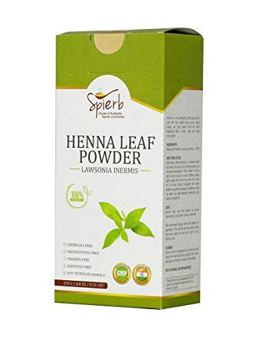Spierb Henna Pulver 250gm Kräuter Hennablatt Pulver für Haare färben chemikalienfrei Haarfarbe natürlich braun 100% reines dreifach geschichtetes Heena Lawsonia...