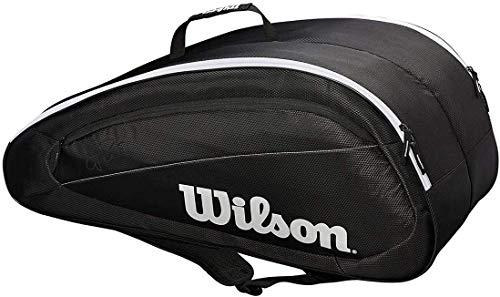 Wilson Fed Team 6 Pack Tennis Bag, Black/White
