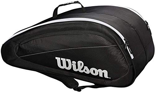 Wilson Bolsa para raquetas de tenis Fed Team, Hasta 6 raquetas, Negro/blanco, WRZ834806