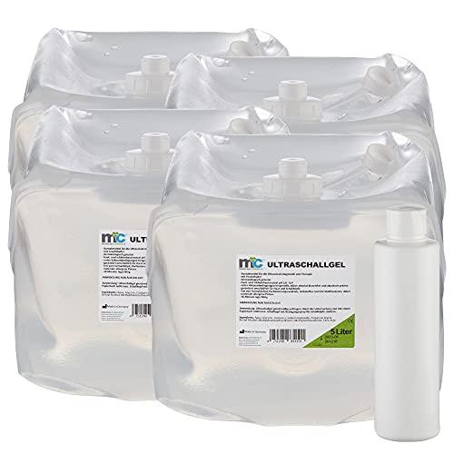 Ultrasonido Gel–20kg Medicalcorner24con botella vacía, 4x 5kg, gel de contacto, conductora Gel