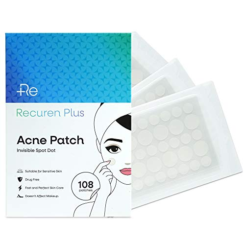 Recuren Plus Acne Patch, Invisible, Waterproof, Breathable, Concealer and Hydrocolloid Pimple Patches for Face, Drug Free, Fast and Perfect Skin Care 108pcs