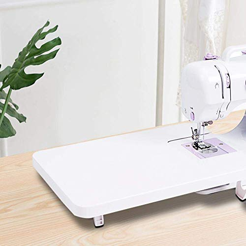 Mumusuki Mesa de extensión Estable de Costura plástica para máquina de Coser doméstica Blanco Universal