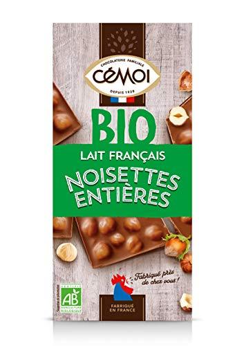 Cémoi Tablette Bio Bloc Chocolat Au Lait/Noisettes Entières 180 G