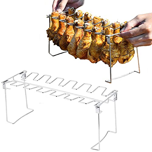 Broadsheet Chicken Leg Wing Grill Rack, Foldable 14-Slot Stainless Steel Chicken Drumstick Holder for Grill and Smoker Oven, Easy to Use Poultry Thigh Grill Racks (Dishwasher Safe)