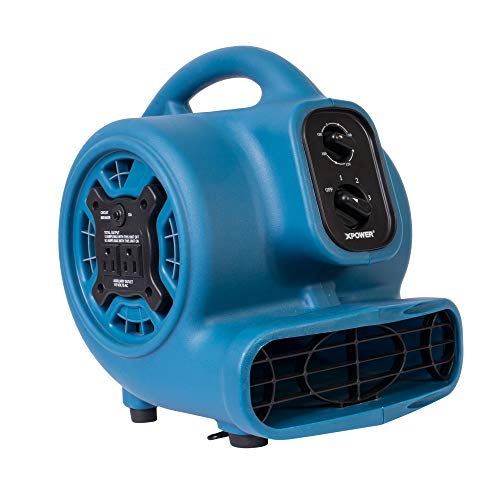 XPOWER P-230AT-Blue 925CFM Mini Mighty Air Mover Utility Blower Fan with Built-In Power Outlets, Blue