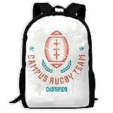 Sac à Dos d'école Rugby Team Ball Emblem Backpack Travel Bag College School Daypack for Women Girls Student Camping Bookbag