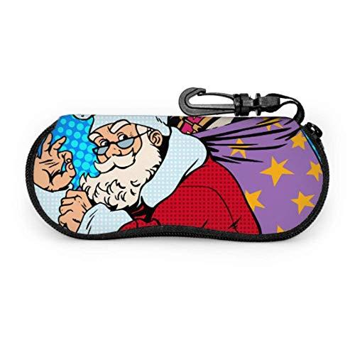 AEMAPE Divertido lindo cómic Papá Noel con cremallera Estuche para gafas Estuche suave para anteojos Estuche de neopreno con cremallera Estuche de viaje Gafas