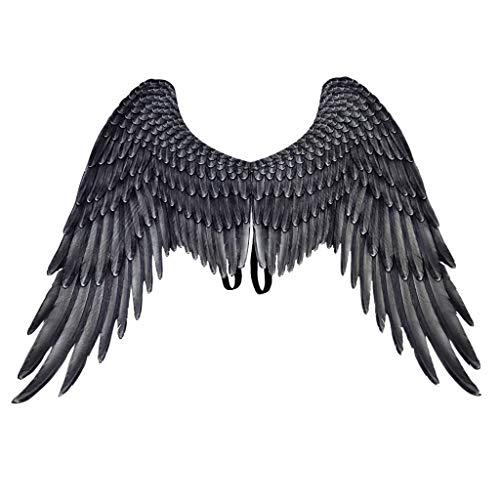 Yowablo Schmetterling Flügel Schmetterling Kostüm schmetterlingsflügel Butterfly Schal Flügel Schal Flügel Cape Umhang ( 54x33cm,Schwarz )