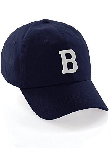 I&W Hatgear Customized Letter Intial Baseball Hat A to Z Team Colors, Navy Cap Black White Letter B