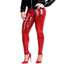 Red Sequin Stretchy Leggings Tights High Waist Pants