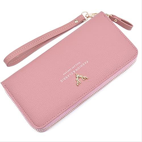 Señoras RFID de protección de gran capacidad multifunción tarjeta de crédito cartera de cuero correa de muñeca bolsa de embrague cremallera mano cartera