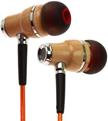 Symphonized NRG 2.0 Wood Earbuds Wired, in Ear Headphones with Microphone for Computer & Laptop, Noise Isolating Earphones for Cell Phone, Ear Buds with Booming Bass (Orange)