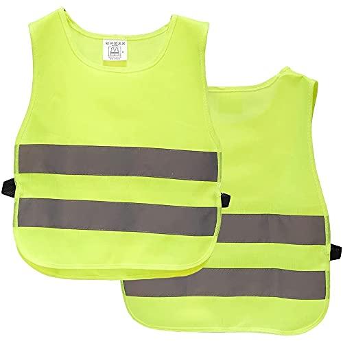 Chaleco reflector para nios, paquete de 2 chalecos de alta visibilidad, chalecos reflectantes para actividades nocturnas al aire libre o traje de trabajo de construccin