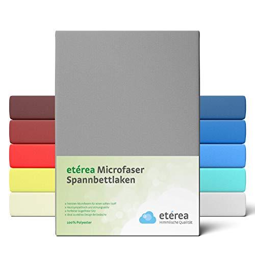 #2 Etérea Classic Microfaser Interlock Spannbettlaken, Spannbetttuch, Bettlaken, 2 Farben, 200x200 - 200x220 cm, Frost Grau