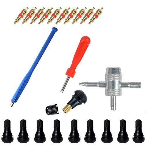 CAILI 23-Teilig Reifenventilentferner Reifen Ventileinsatz (Einkopf-Ventil Entferner+ 4 in1 Reparatur-Werkzeug + Reifenventil + Abzieher) für Auto,Motorrad,Fahrrad