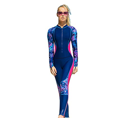 Winter Neoprenanzug für Damen mit Reißverschluss vorne, Ultra Stretch Schnelltrocknender Ganzkörper Neoprenanzug Tauchanzüge UV-Schutz Thermo Badeanzug,Blue-M