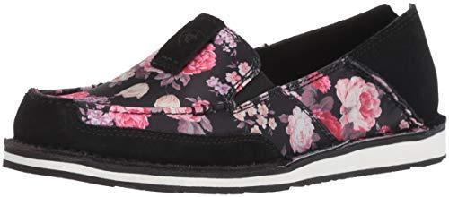 Ariat Women's Cruiser Slip-on Shoe, Black/Satin Floral, 5.5 B US