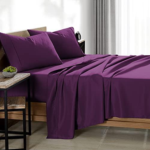 Bare Home Twin XL Sheet Set - College Dorm Size - Premium 1800 Ultra-Soft Microfiber Sheets Twin Extra Long - Double Brushed (Twin XL, Plum)