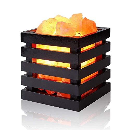 Marco de cristal natural de la luz de la lámpara de escritorio de mesa Lámpara de sal de roca Lámparas de sal luz de la noche Tabla del diseño creativo de la lámpara Negro de madera ligero del sueño d