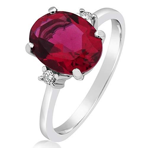 MILLE AMORI ∞ Anillo de compromiso para mujer oro y diamante ∞ oro blanco de 9 quilates, 375 diamantes de 0,08 quilates, rubí sintético de 2 quilates, 9 x 7 ∞ Gems