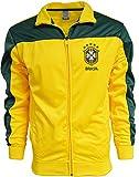 Rhinox Brazil Football Jacket, Brazil Soocer Track Jacket (Large) Yellow