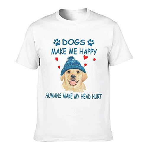 Camisetas de algodón para hombre con diseño de perros haciendo mich felices. blanco XL