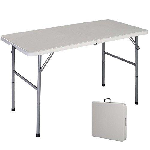 Costway Table de Camping Table Pliante Transportable en Plastique et Acier Robuste Table de Jardin 122 x 61 x 72 cm Blanche