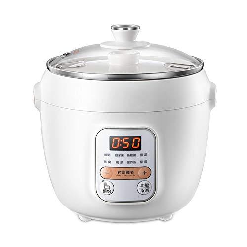 Zhenwo Elektrische Dünsten Topf Automatische Keramik Haushalt Slow Cooker Porridge-Hersteller 1L Multi Cooker,Weiß