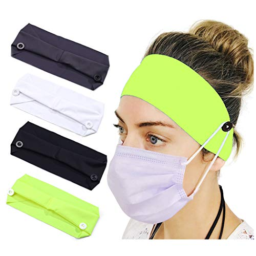 Aceorna Sport Button Headbands Medical Facemask Holder Head Wrap Non Slip Elastic Hair Band Yoga Hair Scarf Fashion Healthcare Ear Protection Hair Accessories for Women and Girls(Pack of 4) (Set A)
