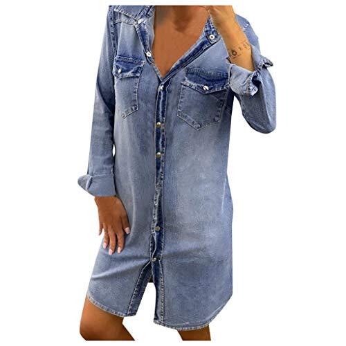 Find Bargain Toimothcn Women Denim Dress, Womens Button Down Shirt Dress Long/Short/Sleeve Sleeveles...