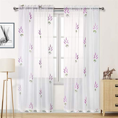 DWCN Faux Linen White Sheer Curtains 84 inch Length - Embroidered Lavender Flower Pattern Bedroom Window Curtains, 2 Panels